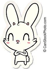 sticker of a cute cartoon rabbit