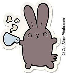 sticker of a cute cartoon rabbit with coffee cup