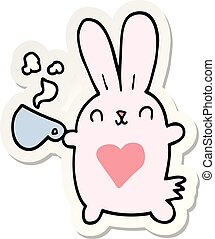 sticker of a cute cartoon rabbit with love heart and coffee cup