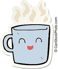 sticker of a cute coffee cup cartoon