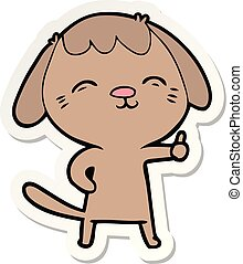 sticker of a happy cartoon dog giving thumbs up sign