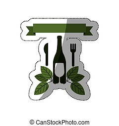 sticker set bottle wine and goblet with leaves and cutlery