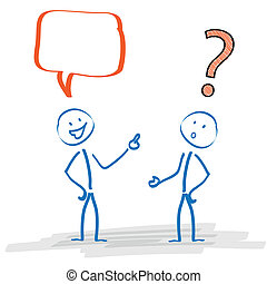 Stickmen with speech bubble and question mark on the white background.