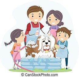 Stickman Family Pet Bath