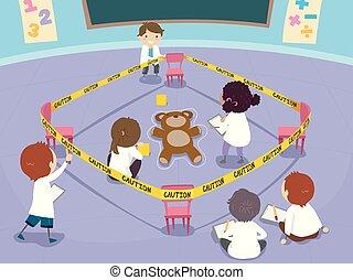 Stickman Kids Classroom Crime Scene Lesson