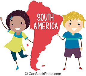 An Illustration of Stickman Kids Presenting the Continent South America