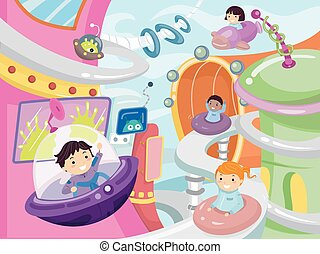 Stickman Kids Future City