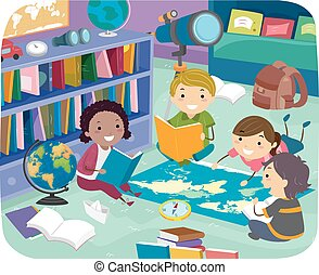 Illustration of Stickman Kids Studying Geography on the Floor in the Library