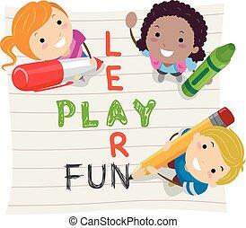 Stickman Illustration of Kids Having Fun While Learning