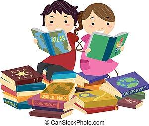 Stickman Kids Reading Geography Books