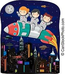 Stickman Kids Rocket Cyberpunk