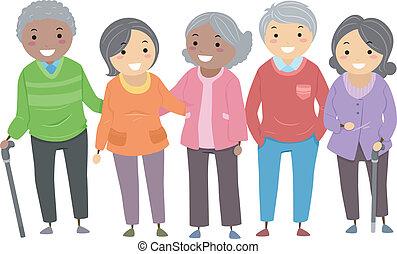 Illustration of a Group of Senior Citizens Huddled Together