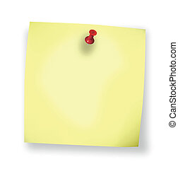 sticky blank yellow note paper on white background
