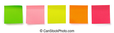 Panoramic shot of color blank sticky notes isolated on white