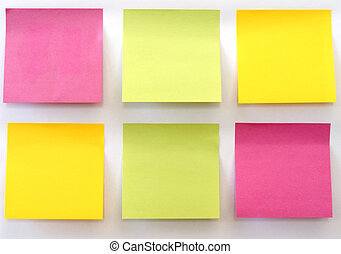 Six multicolored sticky notes stuck on a white wall.