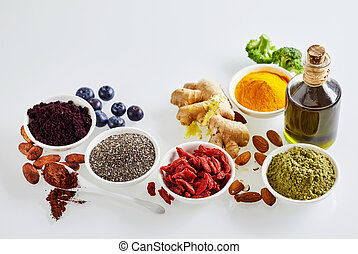 Still life arrangement of healthy superfoods