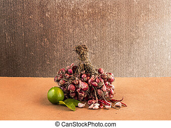 Still life Vegetables on wooden table