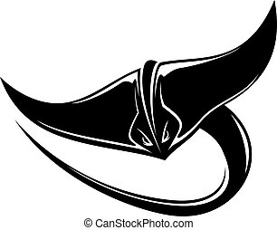 Black and white cartoon of a swimming sting ray or manta ray with a long curving tail and its pectoral fins outspread