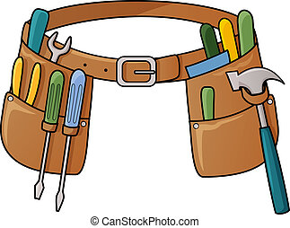 Vector illustration of tool belt with different tools for construction