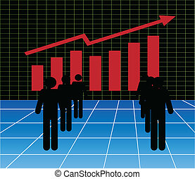 Stock market graph and stock brokers