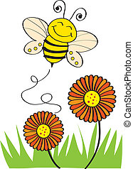 Stock Vector Illustration: Bee Flying