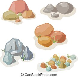Stone and rock collection vector cartoon set