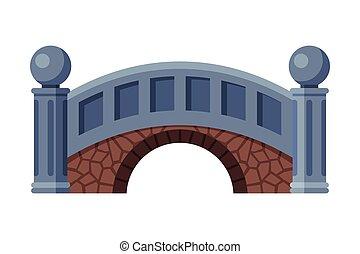 Stone Bridge, Urban Infrastructure Design Element, Flat Style Vector Illustration on White Background
