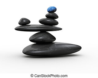 Blue stone sitting in balance on other black stones - 3d render