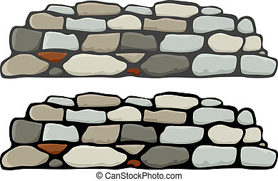 A stone wall with black and gray mortar variations