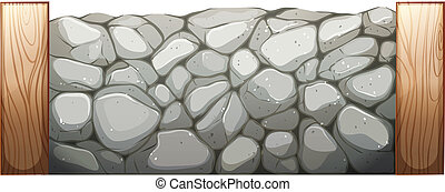 Illustration of a stone wall on a white background