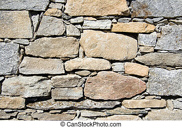 A wall of a rural mountain house made of stones