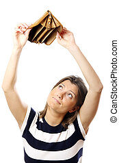 A picture of a cute girl standing against white background with an empty wallet