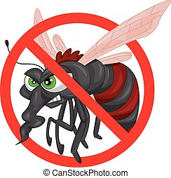 stop mosquito cartoon illustration
