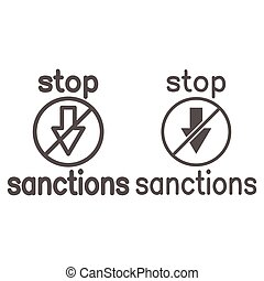 Stop sanctions sign line and solid icon, economic sanctions concept, warning sign with crossed arrow down on white background, prohibition economic sanction icon in outline style. Vector graphics.