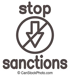 Stop sanctions sign line icon, economic sanctions concept, warning sign with crossed arrow down on white background, prohibition economic sanction icon in outline style. Vector graphics.