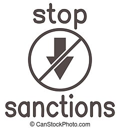 Stop sanctions sign solid icon, economic sanctions concept, warning sign with crossed arrow down on white background, prohibition economic sanction icon in glyph style. Vector graphics.