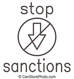 Stop sanctions sign thin line icon, economic sanctions concept, warning sign with crossed arrow down on white background, prohibition economic sanction icon in outline style. Vector graphics.