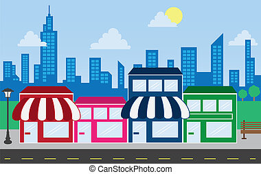 Store Fronts and Skyline Buildings