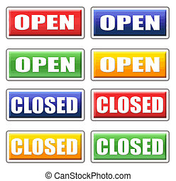 Store open and closed signs 4 colors set