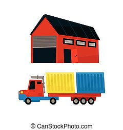 Storehouse And Long Distance Cargo Truck Simplified Flat Vector Design Colorful Illustration On White Background