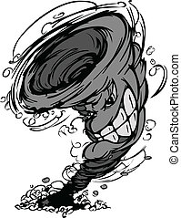 Cartoon Vector Image of Tornado Cyclone Mascot Graphic