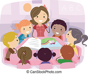 Illustration of Kids Listening to a Story