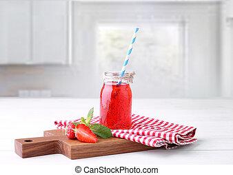 Strawberry fresh juice, smoothie.