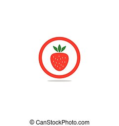 Strawberry in a circle logo template