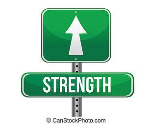 strength road sign illustration design over a white background