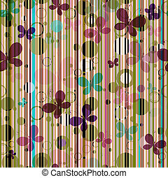 Striped seamless pattern with colorful butterflies (vector EPS 10)