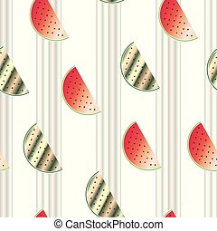 stripped seamless pattern with watermelon vector