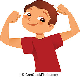 strong kid showing his big muscles