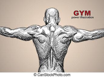 Strong man on dark background