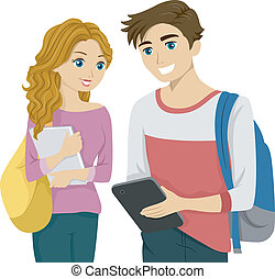 Illustration of a Teen Couple Checking a Computer Tablet Together